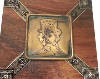 Steampunk Secret Treasure Stash Jewelry Box Wood and Brass Top Hat Mustache Man #3 by Dr Brassy Steampunk