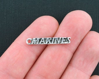 5 Marines Charms Antique Silver Tone - SC3445
