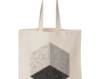 Cube totebag / Screen printed fairtrade cotton