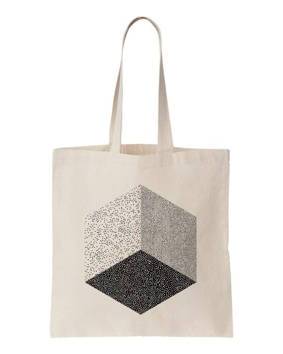 Cube totebag / Screen printed fairtrade cotton