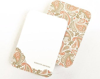 Personalized Stationery, Petite Note Cards, Mother's Day Gift // PRETTY PAISLEY