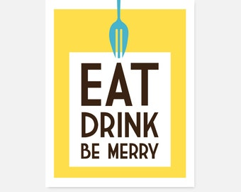 Eat, Drink, Be Merry kitchen art download, 8.5 x 11