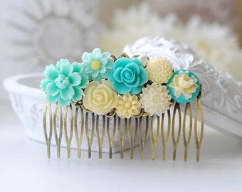 Aqua Blue Wedding Hair Comb. Ivory and Blue Bridal hair Comb, Wedding Hairpiece, Large Brass Filigree Floral Collage Comb, Something Blue