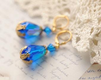 Swarovski crystal teardrop earrings, victorian style dangle earrings, vintage crystal, capri blue