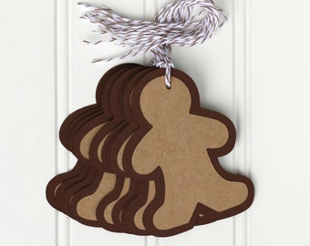 10 Die Cut Layered Gingerbread Man Christmas Holiday Tags (3.5 x 2.5 inches) in Brown & Kraft Cardstock with Brown Baker's Twine