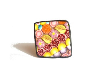 Spring fruity Brooch, Polymer clay pin : square mosaic Art jewelry, millefiori canes, multicolord Christmas gift, flower leaf