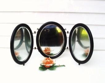 Antique Tri Fold Mirror | Vanity Mirrors | Shaving Mirrors | Dresser Mirror | Wood Framed Mirrors | 3 Panel Wall Mirror