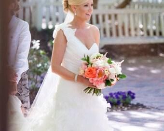 Wedding Veil Silk Pencil Edge Trim 90 Inch Long Cascading Chapel Length Bridal Veil