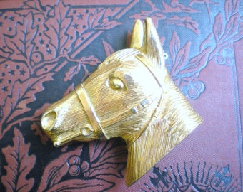 Now on Sale, Large Gold Detailed Horse Pin, Signed