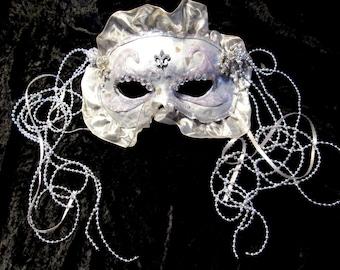 Silver Fleur De Lis Victorian Masquerade Mask