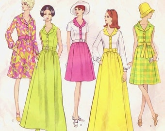 1960s Womens Mod Day or Evening Dress Vogue Sewing Pattern 1942 Size 10 Bust 32 1/2 Mod Dress Patterns One Piece Dress Vogue Basic Design