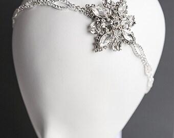 Bridal Headband, Crystal Wedding Hair Accessories, Victorian Style Oval Rhinestone Silk Ribbon Hairband, Art Deco Wedding Headpiece, ARELY