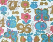 Vintage Flower Fruit Butterfly and Number Fabric
