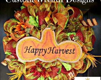 Happy Harvest Pumpkin Deluxe Wreath