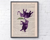 Elephant  Acrobatics wall art  Printed on Vintage Book sheet - Nursery wall art - home decor - Nursery decoration giclee print art BPAN101