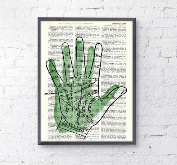 Spring Sale dictionary print  Palmistry lines,  Wall decor , gift, giclee print,wall hanging art,Palm reading instructions BPSK083