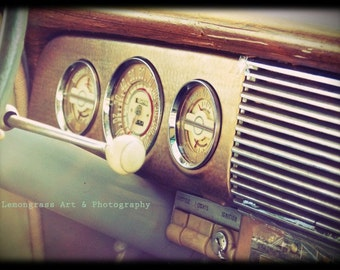 Ignition, Classic Car Photography, Fine Art Print, Vintage Automobile, Dashboard, Gear Shift, Car Interior, Home Decor, Retro Wall Art