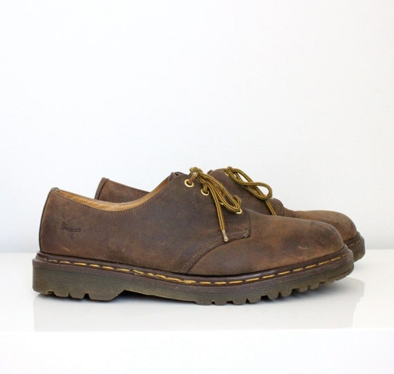 doc martens brown leather shoes mens size 12 made in