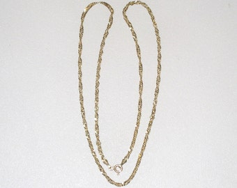 "14KT Solid Gold 18.25"" Twisted Rope, Diamond Cut Curb Link Necklace / Men's, Women's /5 Grams, Italy / Signed / FREE US Shipping"