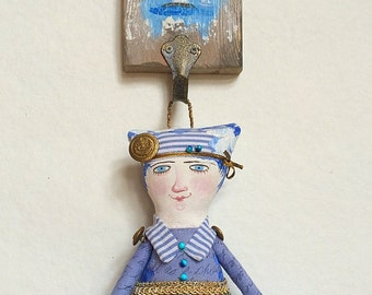 "Art Doll ""Baltic"" OOAK  wall hanging. Nautical Doll. Textile Art Doll. Nautical Home Decor."