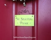 READY TO SHIP  No Soliciting Please Wood Door Sign