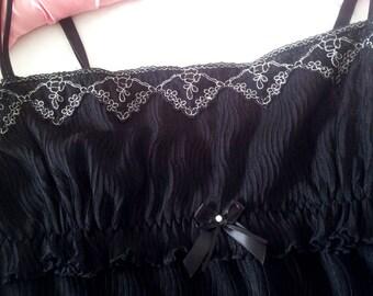 Black Babydoll Lingerie Nightie Petticoat - 1960s