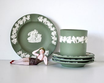 Vintage Wedgwood Jasperware Smoking Set 5 Piece Sage Green