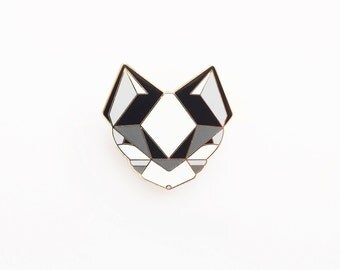 Cat Brooch - Black and White Geometric Metal Pin