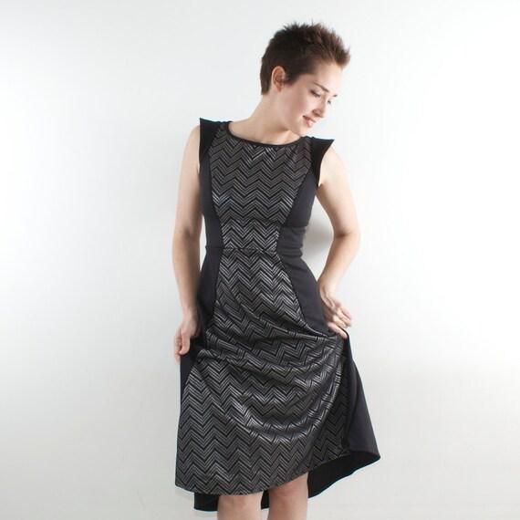 Black midi dress black and grey lace midi dress tight waist midi dress 50s retro style dress custom made:  S-XL 36-44