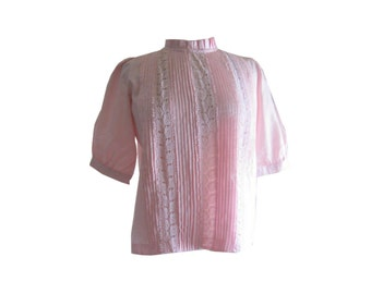 Pink Pleated Lace Inset Blouse1950s Size Medium