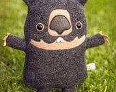 wombat stuffed animal - wombat plush soft toy - cute handmade marsupial plushie - kawaii wombat softie, Adopt A Plush, Australia wildlife