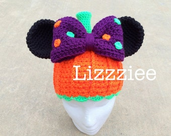 Minnie Pumpkin Crochet Hat PATTERN PDF - Halloween - baby kids toddler teen - Easy - Instant Digital Download Disneyland Disneyworld