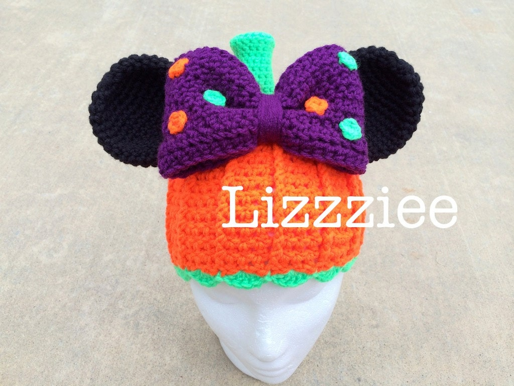 Crochet Halloween Baby Hat Pattern : Minnie Pumpkin Crochet Hat PATTERN PDF Halloween baby kids