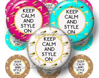 Hairdresser, Instant Download, 1 Inch Circles, Bottle Cap Images, Digital Collage Sheet, Keep Calm And Style On Hairdresser, Bottle Caps