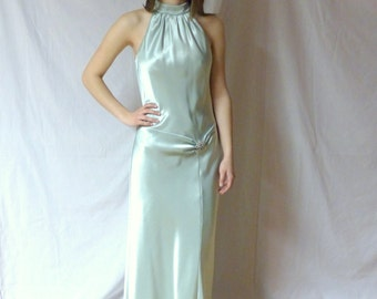 90s Prom Party Maxi Long Dress 1990s Gown Halter Sleeveless Gatsby Old Hollywood DEADSTOCK Satin Art Deco Aurora Borealis Rhinestone / S