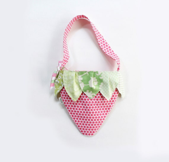 Girls Purse-As Seen in Vogue Bambini Girls Strawberry Tote Bag Children's Accessories Kids Pink