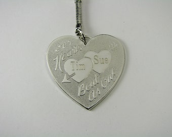 Personalized Keychain Custom Engraved Silver Heart Couples Key Chain -Hand Engraved
