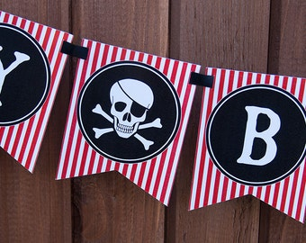 Pirate Birthday Banner - Red, Black & White - Personalized - DIY Printable PDF File
