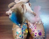 Decorated Pointe Shoes (Pair): Butterfly Lovers Asian Opera Themed Pink & Blue Jeweled Peach Pink Satin Real Ballet Shoes w/ Ribbons -- OOAK