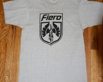 Vintage '80s Grey FIERO Automotive T-Shirt SCREEN Stars Rare Deadstock Medium