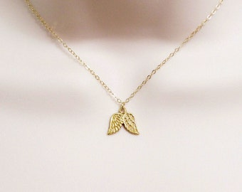 Guardian Angel Necklace, Tiny Angel Wings Pendant, Dainty Necklace, Gift for Women, Remembrance Jewelry, Sterling Silver or Gold Filled