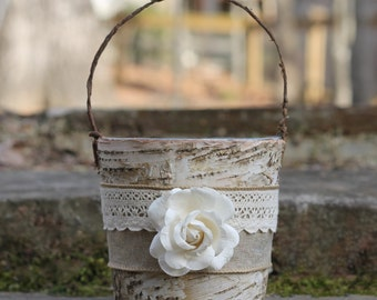 Flower Girl Basket Rustic Burlap Lace and A Paper Rose, Barn, Shabby Chic Weddings