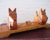 Vintage Hand Carved Desk Display/US Army Post Souvenir/Carved Wood Dogs/Post World War 2 Collectible/Amberg Germany 1946/Soldier Souvenir