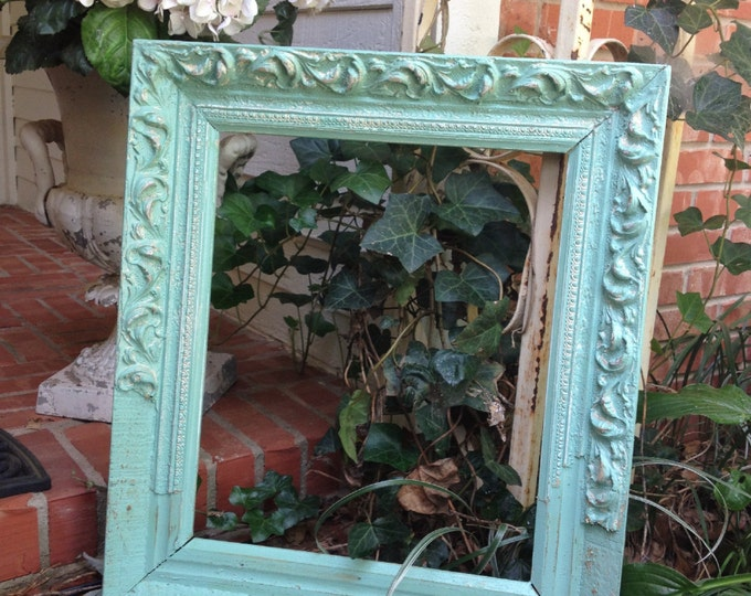 "ANTIQUE PICTURE FRAME - Shabby Chic - Painted Aqua Tourmaline Large Wide Ornate Wood & Gesso Holds 15 1/4"" X 18 1/4"""