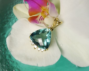 Gemstone Necklace, 18k Gold Necklace, Gemstone Diamond Necklace, Handmade Jewelry For Her, Fluorite Necklace, Green Fluorite Pendant