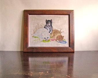 Summer Kittens: vintage crewelwork framed wall art