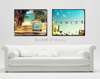 Large Canvas Wall Art, Retro Surf Art, California Beach Home Decor, VW Bus, Venice Beach, Beach Set