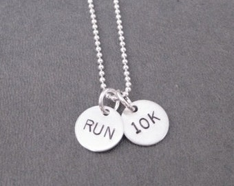 RUN 10K Sterling Silver 2 Disc Running Necklace - Sterling Silver Ball Chain - 10K Running Jewelry - 10k Road Race - Peachtree Road Race
