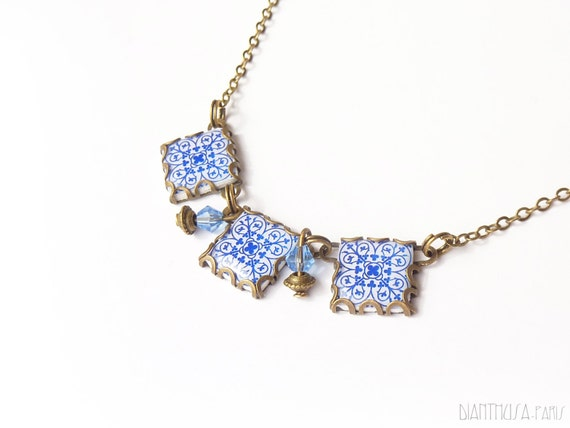 VIntage pattern tile necklace. Cement tile Necklace with art nouveau ceramic tile pattern. Blue and white