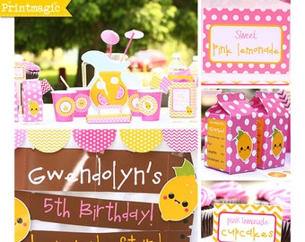Pink Lemonade Birthday Invitation & Decorations Printable Party - Pink Lemonade Invitation - Download and Personalize in Adobe Reader